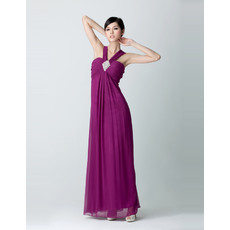 Empire Waist V-Neck Chiffon Floor Length Prom Evening Dress for Women