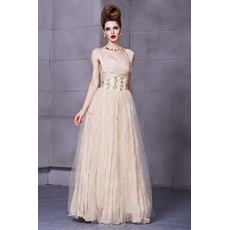 Chiffon A-Line Straps Floor Length Formal Evening Dress for Women