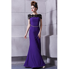 Chic Modern Off-the-shoulder Sheath Floor Length Satin Prom Evening Dress for Women