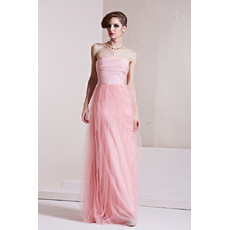 Inexpensive Classy Strapless Sheath Floor Length Satin Prom Evening Dress for Women