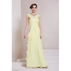 Inexpensive Amazing Chiffon V-Neck Sheath Floor Length Prom Evening Dress for Women