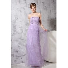 Custom Classic Sheath/ Column Strapless Floor Length Chiffon Evening Dress for Prom