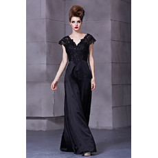 Inexpensive Classic Black V-Neck Long Satin Sheath Prom Evening Dress for Women