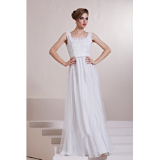 Beautiful Square Long Satin Column/ Sheath White Prom Evening Dress