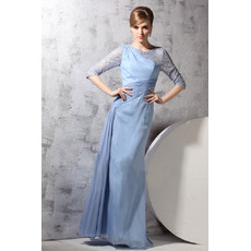Beautiful Modern Long Sleeves Chiffon One Shoulder Floor Length Evening Dress