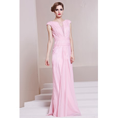 Cheap Classy Sheath/ Column Chiffon Bateau Long Formal Evening Dress for Women