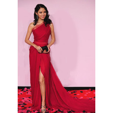 Custom Celebrity Lace Sweetheart Sheath Long Red Prom Evening Dress