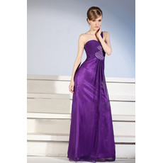 Custom Designer One Shoulder Floor Length Satin Sheath Purple Evening Dress for Women