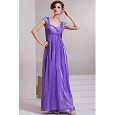 Inexpensive Designer Cap Sleeves Chiffon Sweetheart Floor Length Evening Dress