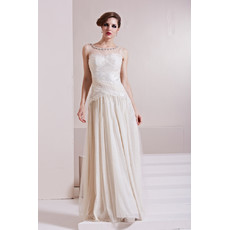 Designer Sexy Chiffon Tulle A-Line Floor Length Bateau Formal Evening Dress for Women