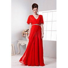 Inexpensive Sexy Chiffon Cap Sleeves V-Neck Sheath Long Red Formal Evening Dress