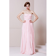 Cheap Custom Designer Chiffon Sweetheart Floor Length Column Evening Dress