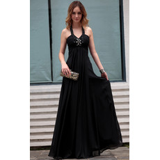 Beautiful Elegant Black Halter Chiffon Sheath Long Black Evening Dress for Women