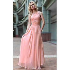 Affordable Designer One Shoulder Chiffon Floor Length Sheath Evening Dress