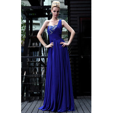 Inexpensive Designer One Shoulder Chiffon Sheath Floor Length Evening Dress