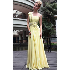 Designer Celebrity One Shoulder Chiffon Sheath Floor Length Evening Dress