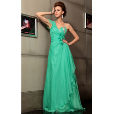 Custom Celebrity One Shoulder Chiffon Sheath Long Evening Dress for Prom
