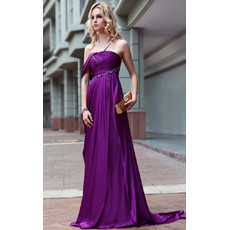 Inexpensive Celebrity Strapless Sheath/ Column Satin Sweep Train Evening Dress