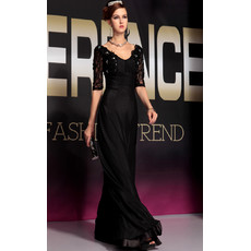 Affordable Celebrity Sleeved Black Chiffon Sheath Floor Length Evening Dress