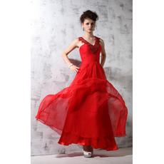 Women's Amazing V-Neck Chiffon Long Red Sheath Evening Dress for Prom