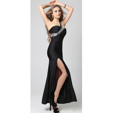 One Shoulder Ankle Length Satin Sheath Evening Dress
