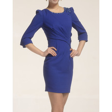 Custom Designer Long Sleeves Short Column Blue Satin Formal Mother of the Bride Suits
