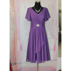 Women's Simple Chiffon Short Cap Sleeves V-Neck Mother of the Bride Dress for Wedding