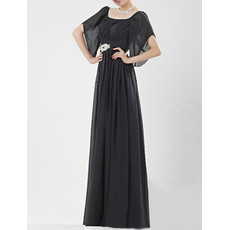 Classic Cap Sleeves Black Chiffon Floor Length Formal Mother of the Bride Dress