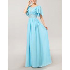 Stylish Modest Cap Sleeves Chiffon V-Neck Long Mother of the Bride Dress