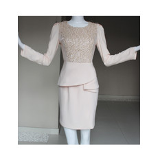Custom Modern Long Sleeves Knee Length Chiffon Mother of the Bride Dress
