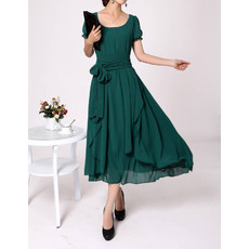 Affordable Stylish Chiffon Short Sleeves Tea Length Mother of the Bride Dress for Wedding