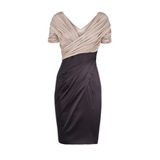 Custom Affordable Bodycon Pleated Short Sleeves V-Neck Short Mother of the Bride Dress
