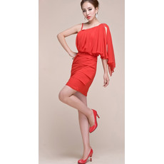 Beautiful One Shoulder Short Chiffon Homecoming/ Cocktail Dress for Girls