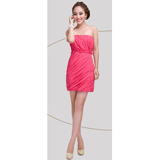 Column Strapless Short Chiffon Homecoming/ Graduation Dress