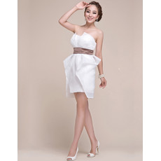 Pretty Column Strapless Chiffon Short White Junior Homecoming/ Graduation Dress for Girls