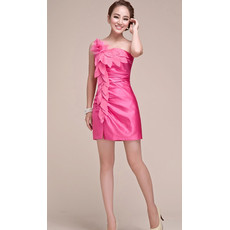 Chic One Shoulder Sheath Short Homecoming/ Graduation Dress for Girls