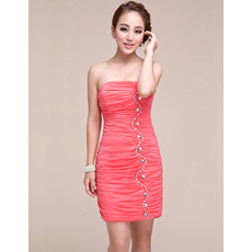 Pretty Sheath Strapless Short Chiffon Homecoming/ Graduation Dress for Girls