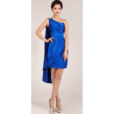 Custom Classic One Shoulder Short Sheath Blue Satin Homecoming Dress for Girls