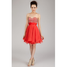 Affordable Classic A-Line Sweetheart Short Chiffon Beaded Homecoming Dress for Girls