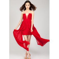 Affordable Sweetheart Chiffon Sheath/ Column Red Short Homecoming Dress for Girls