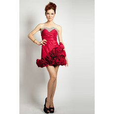 Affordable Short Sweetheart A-Line Satin Junior Homecoming Dress for Girls