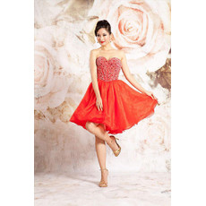 Affordable A-Line Sweetheart Short Taffeta Beaded Homecoming Dress for Girls