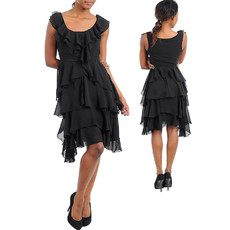 Girls Short Chiffon Tiered Little Black Cocktail Homecoming/ Party Dress