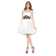 Girls Strapless Short Taffeta Little White Cocktail Homecoming/ Party Dress