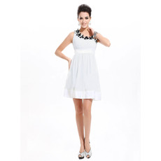 Girls Short Chiffon Asymmetric Little White Cocktail Homecoming/ Party Dress