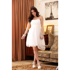 Girls Short Chiffon Strapless Little White Cocktail Homecoming/ Party Dress