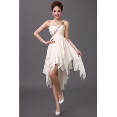 Girls One Shoulder Chiffon Asymmetric Homecoming Dress