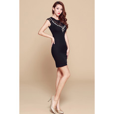 Girls Tight Black Column/ Sheath Short Satin Little Black Cocktail Homecoming/ Party Dress