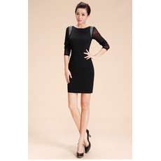 Girls Tight Black Sheath Tight Short Little Black Cocktail Homecoming Dress with Sleeves