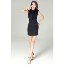 Girls Tight Sheath Bodycon Short Black Lace Little Cocktail Homecoming/ Party Dress